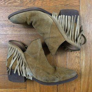 Zara Ankle High Fringe Boot W 8.5 / 39